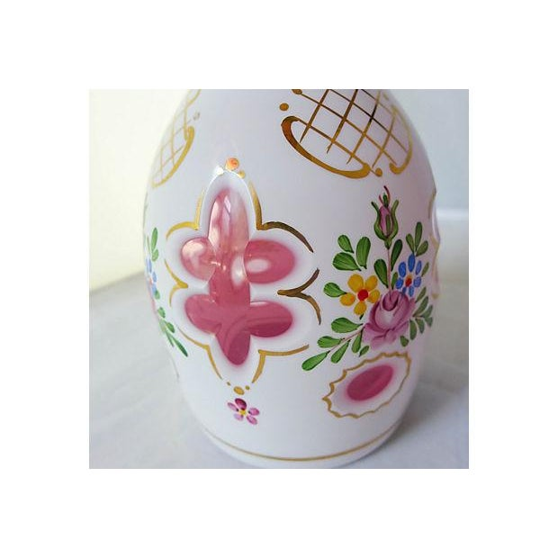Vintage Hand Painted Floral Pink Decanter For Sale - Image 5 of 6