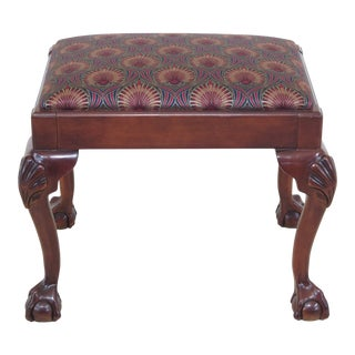 1990s Vintage Chippendale Ball & Claw Cherry Footstool For Sale