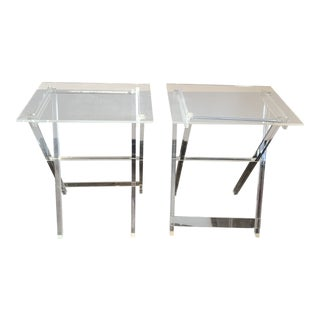 1970s Mid-Century Modern Lucite Folding Tables Set - a Pair For Sale