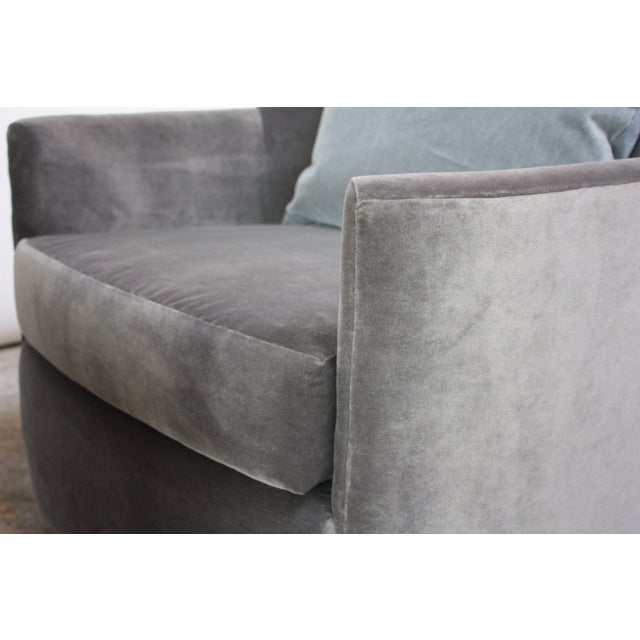 Gray Mid-Century American Modern Tub Chairs in Mohair and Velvet For Sale - Image 8 of 13