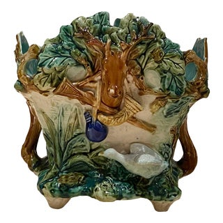 French Majolica Jardinere With Hunting Scenes For Sale