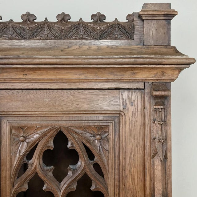 Wood 19th Century French Gothic Bookcase ~ Vitrine For Sale - Image 7 of 13