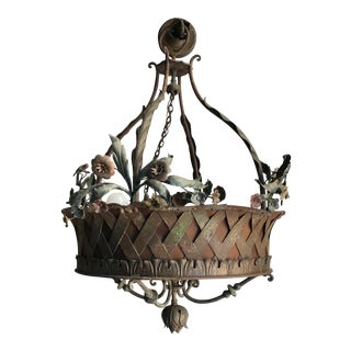 Antique Hanging Woven Basket Chandelier
