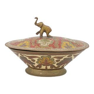 Brass Elephant Trinket Box For Sale