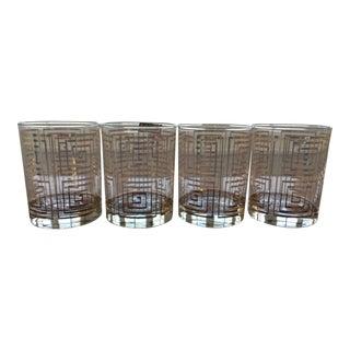 Greek Key 22k Culver Old Fashioned Cocktail Glasses - Set of 4