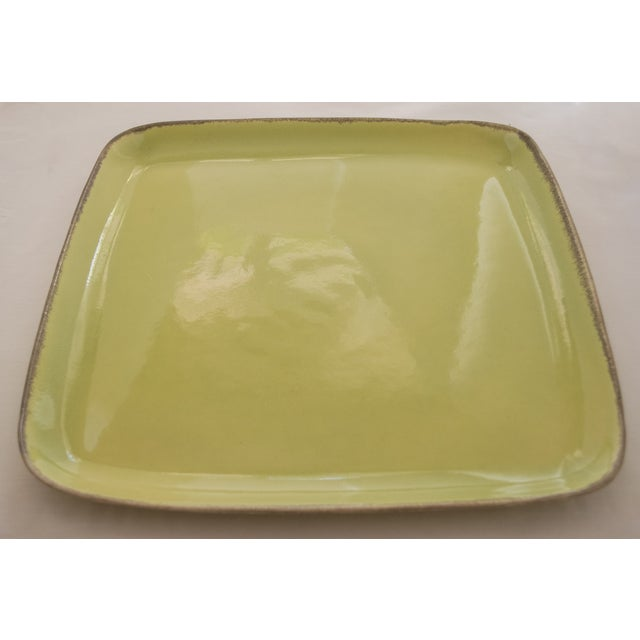 "Winfield Pasadena #290 Large Square Platter in highly collectible Chartreuse color measures 14.0"" square by 1.0""H. No..."
