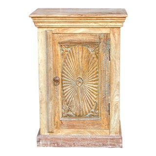 Bleached Sunburst Nightstand Cabinet For Sale