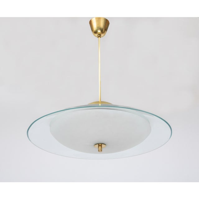 1950s 1950s Vintage Max Ingrand for Fontana Arte Crystal and Brass Chandelier For Sale - Image 5 of 6