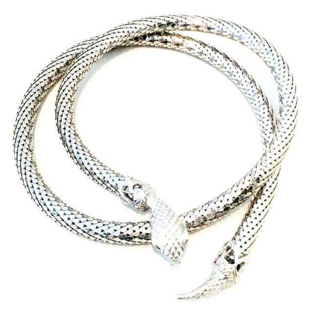Contemporary 70's Silver Metal Mesh Coil Snake Whiting & Davis Necklace For Sale - Image 3 of 10