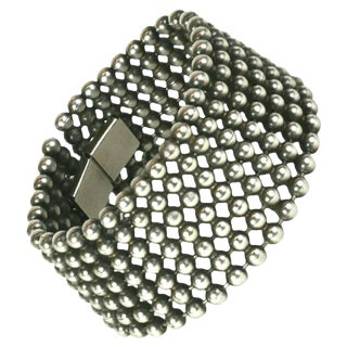 French Silvered Metal Ball Chain Cuff Bracelet For Sale