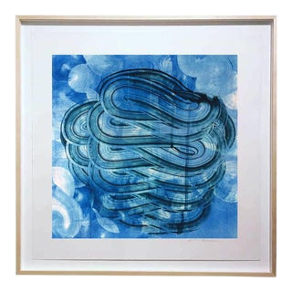 """Duo Indigo"" Original Monotype on Rives Bfk Paper Print by Karen J Revis For Sale"