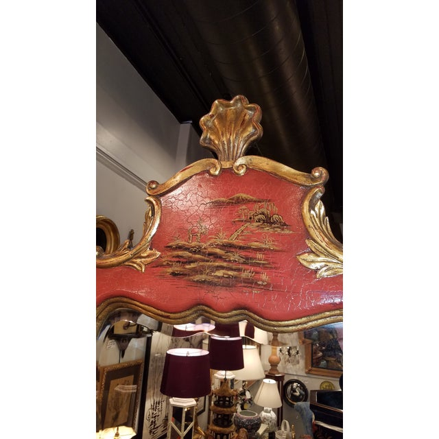Theodore Alexander Chinoiserie Red Lacquer and Gold Painted Mirror For Sale - Image 9 of 11