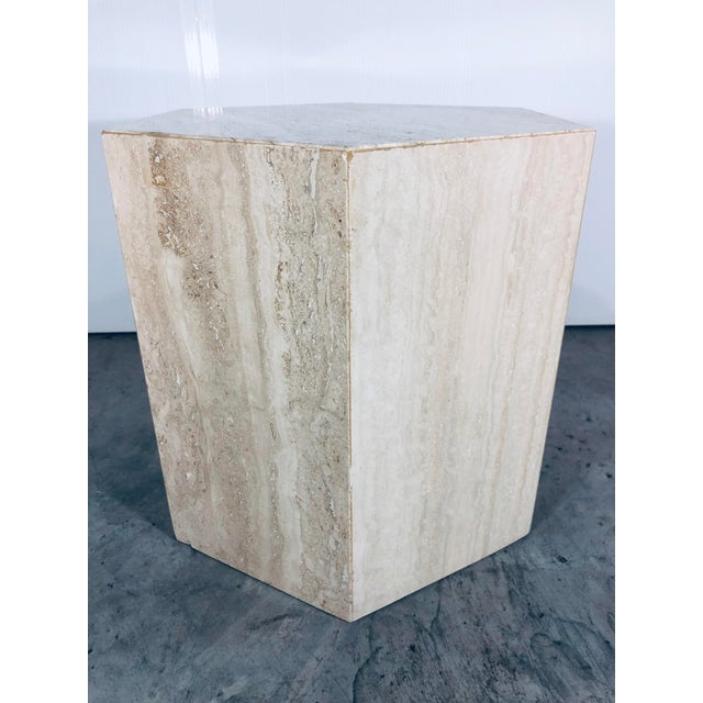 1970s Mid-Century Modern Hexagonal Italian Travertine Pedestal or Side Table For Sale - Image 10 of 10