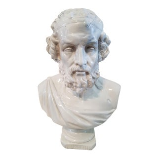 19802s Baroque Bust of Homere Ceramic Statue
