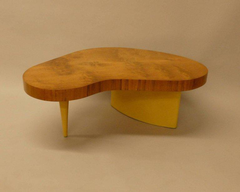 Art deco gilbert rohde herman miller burl top coffee table image 2 of 7