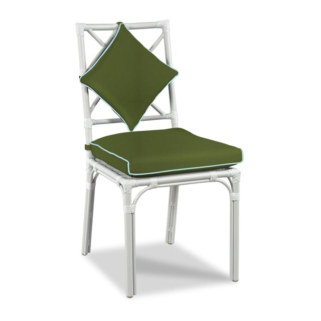 Traditional Haven Outdoor Dining Chair, Palm and Mineral Blue For Sale - Image 3 of 3