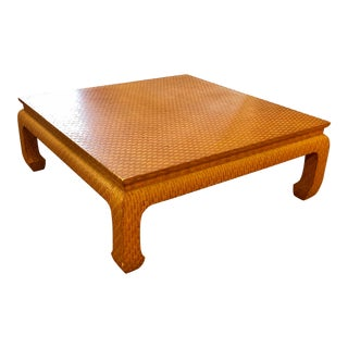 Mid-Century Grass Cloth Wrapped Oriental Lined Coffee Table by Baker For Sale