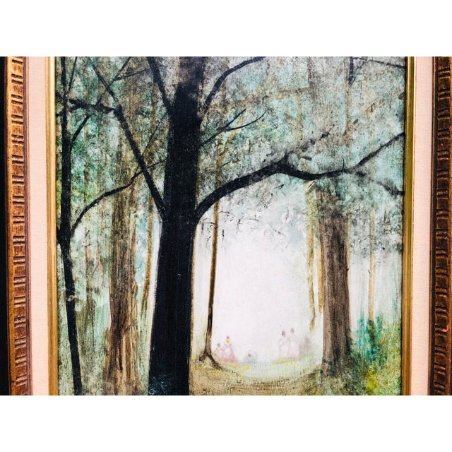 Wood Vintage Mid Century Era Tall Trees Forest Hand Painted Signed Framed Art For Sale - Image 7 of 13