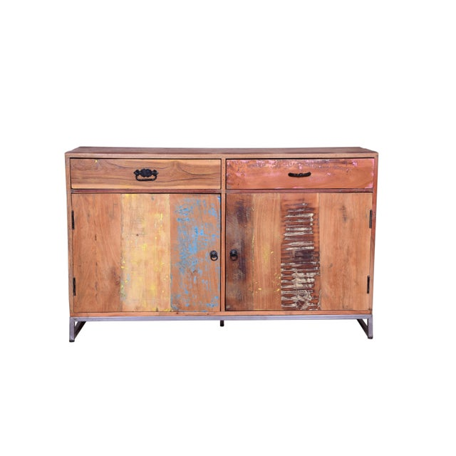 2010s Cort Recycled Wood Two Drawer Sideboard For Sale - Image 5 of 6