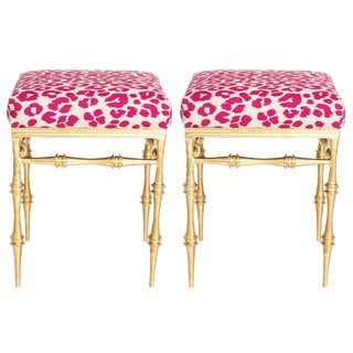 Pair of Gilt Metal Pink Schumacher Leopard Upholsterec Benches