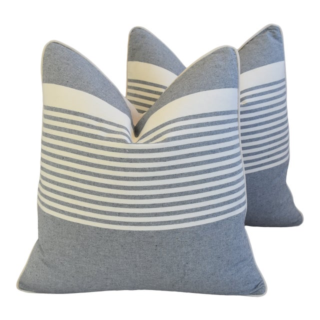 """French Gray & White Nautical Striped Feather/Down Pillows 22"""" Square - Pair For Sale"""