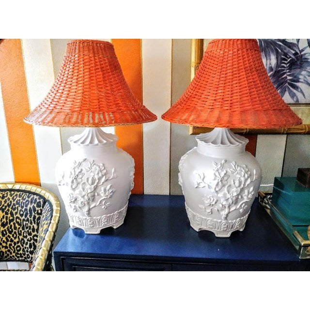 A Pair Vintage Floral Gloss White Large Pagoda Table Lamps W/Bright Orange Wicker Shades For Sale - Image 10 of 10