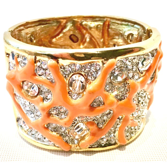 """21st Century Kenneth Jay Lane """"KJL"""" Limited Edition Signed Wide Clamper Style Cuff Clamper or Bangle Bracelet. Features a..."""