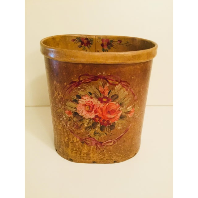 Animal Skin Antique French Floral Waste Basket For Sale - Image 7 of 7