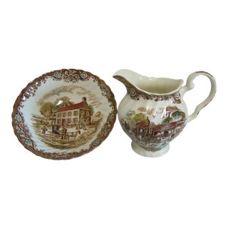 Johnson Bros Creamer & Bowl Heritage Hall - A Pair For Sale