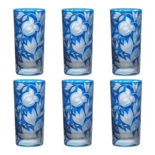 Verdure Highball Glasses, Set of 6, Azure For Sale