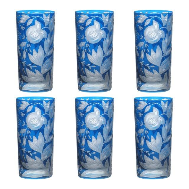 Verdure Highball Glasses, Set of 6, Azure For Sale