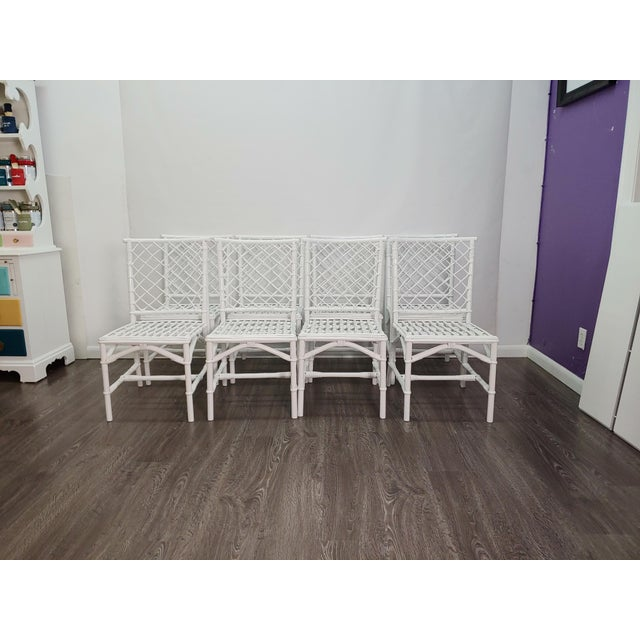 Ficks Reed Diamond Patterned Rattan Chairs - Set of 8 For Sale In West Palm - Image 6 of 6