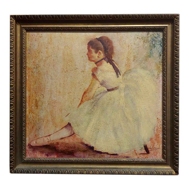 Female Dancer Stretching - Oil Painting For Sale