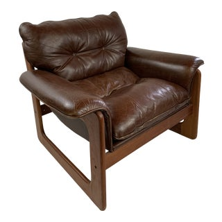 Mid-Century Danish Teak & Leather Lounge Sling Chair For Sale