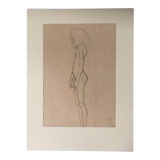 Lithograph of Nude by Gustav Klimt Printed in Austria, 1964 For Sale
