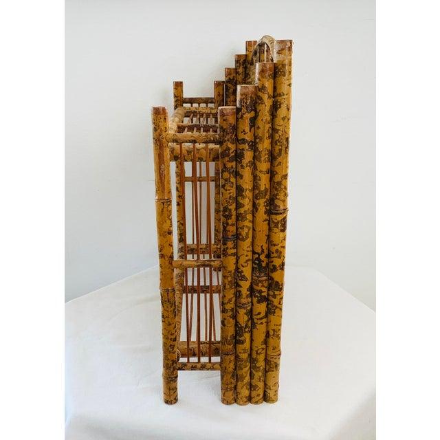 Asian 1910s / 1920s Tortoise Shell Burnt Bamboo Shelf For Sale - Image 3 of 9