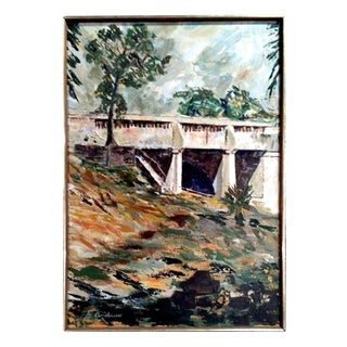 """""""Bridge #2"""" Post-Impressionist Oil Painting by G. Andrew"""