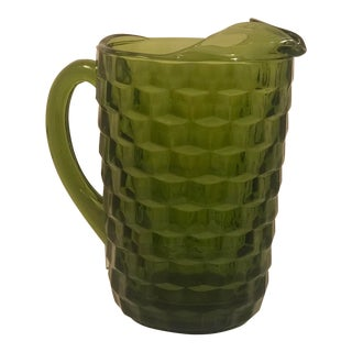 1960s Contemporary Olive Green Indiana Glass Fostoria Pitcher For Sale