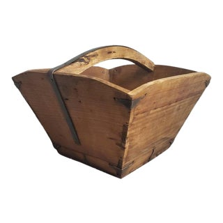 19th Century Provincial Chinese Wooden Rice & Grain Basket For Sale