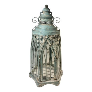 Large Vintage Moroccan Style Lantern Candle Holder For Sale