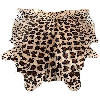 Faux Leopard Print Hide Rug- 5′8″ × 6′11″ For Sale