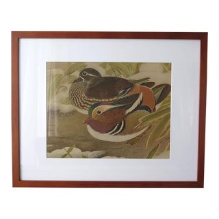 Vintage Asian Wood Block Print of Two Ducks For Sale