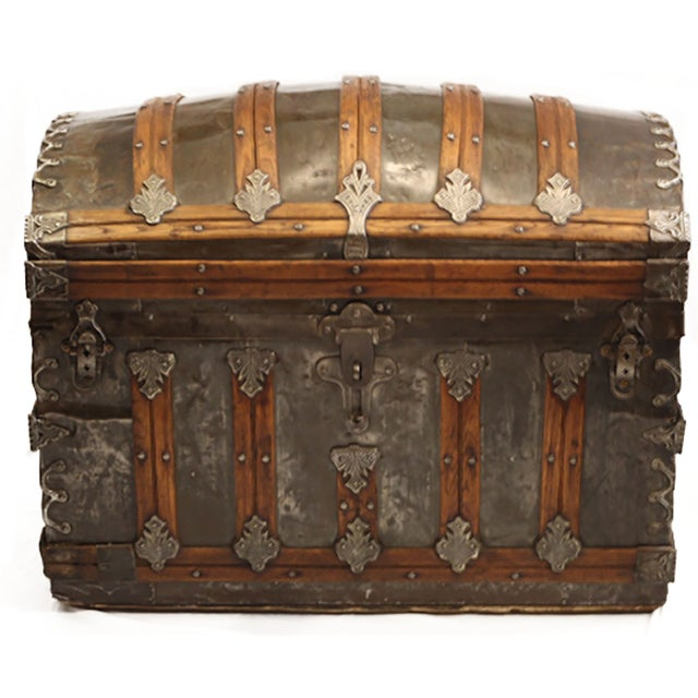 Late 19th-C. Tin Embossed Steamer Trunk - Image 1 of 10