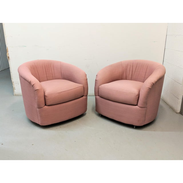 Modern Pink Barrel Back Lounge Chairs- A Pair For Sale - Image 4 of 12