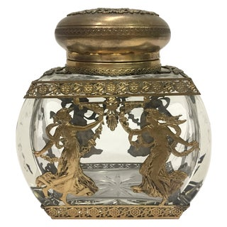 19th Century Baccarat Crystal & Bronze Vessel Dancing Muse For Sale