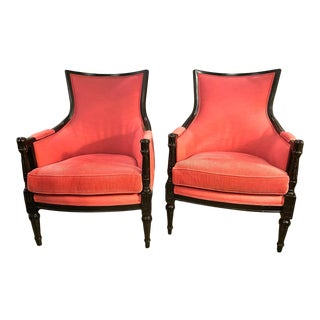 Vintage Directoire Style Bergeres - a Pair For Sale