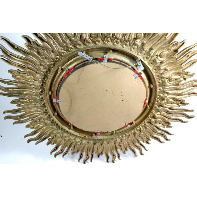 Large Decorative Sunburst Starburst Mirror With Cast Plastic Frame For Sale - Image 10 of 11