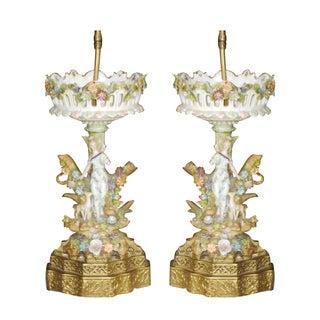 Antique Porcelain Table Lamps - a Pair For Sale