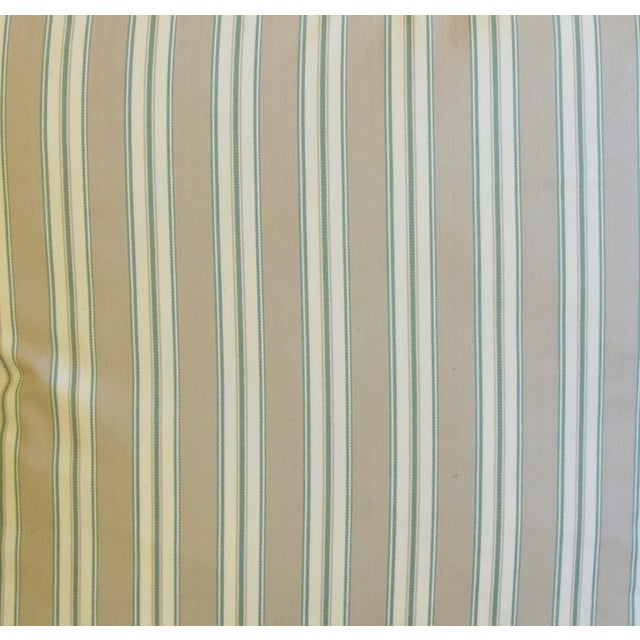 """French Striped Ticking Feather/Down Pillows 23"""" Square - Pair For Sale - Image 4 of 11"""