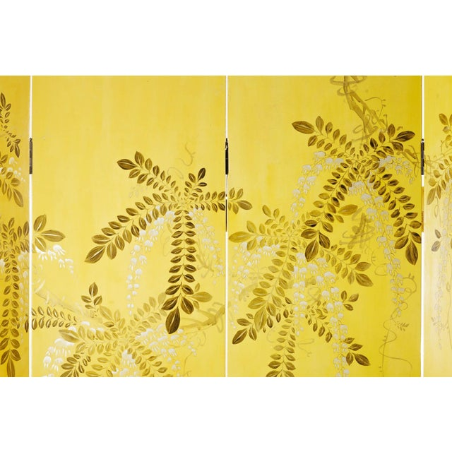 Chinoiserie Double-Sided Leather Wisteria Scene 4 Panel Room Divider Screen in Mustard Yellow by Lawrence & Scott For Sale - Image 3 of 6